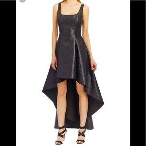 Nicole Miller High Low fit-n-flare metallic dress